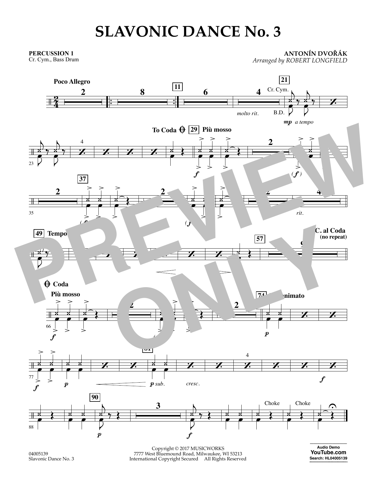 Robert Longfield Slavonic Dance No. 3 - Percussion 1 sheet music notes and chords. Download Printable PDF.