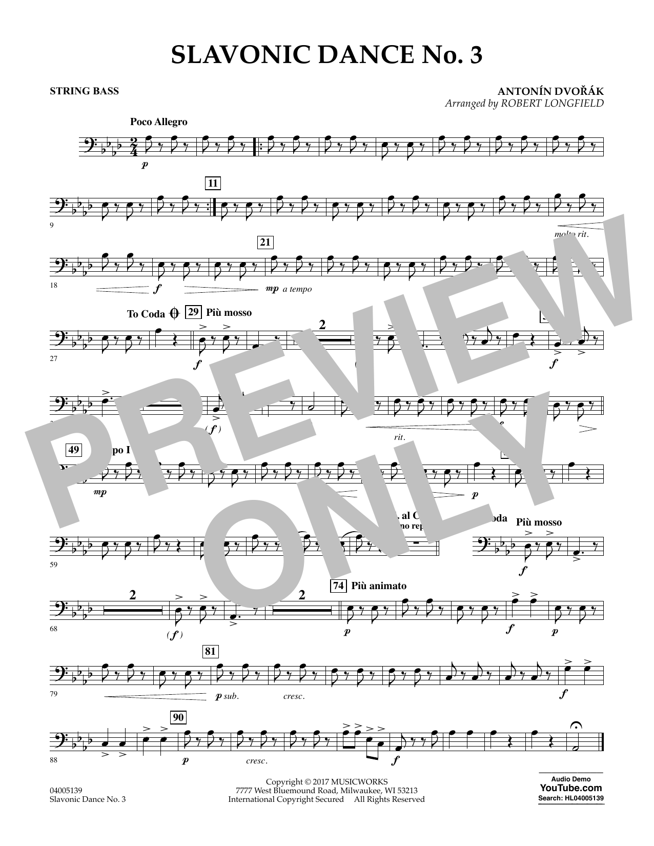 Robert Longfield Slavonic Dance No. 3 - String Bass sheet music notes and chords. Download Printable PDF.