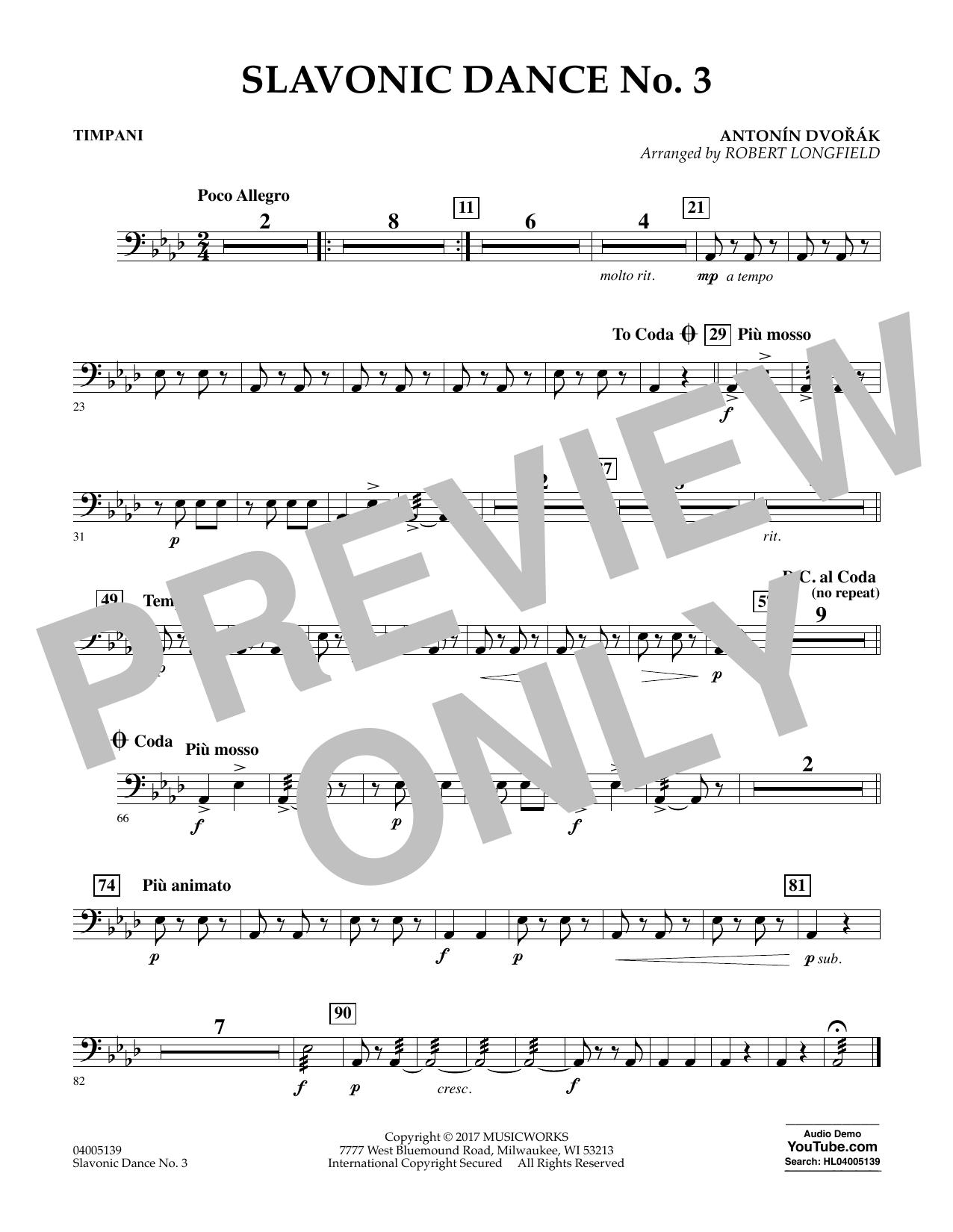 Robert Longfield Slavonic Dance No. 3 - Timpani sheet music notes and chords. Download Printable PDF.