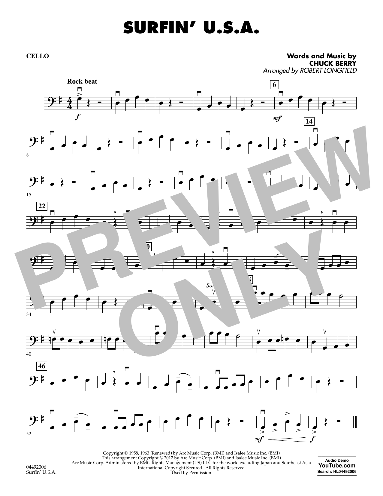 Robert Longfield Surfin' U.S.A. - Cello sheet music notes and chords. Download Printable PDF.