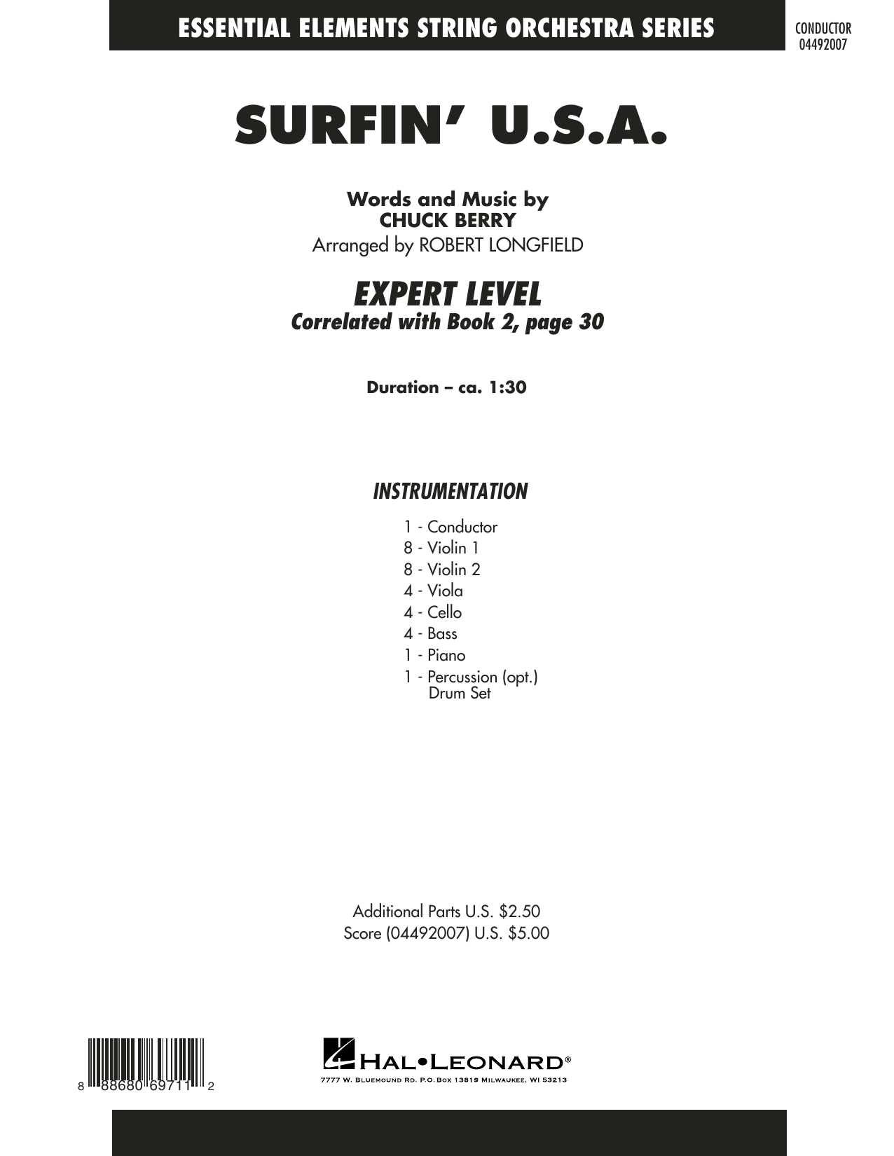 Robert Longfield Surfin' U.S.A. - Conductor Score (Full Score) sheet music notes and chords. Download Printable PDF.
