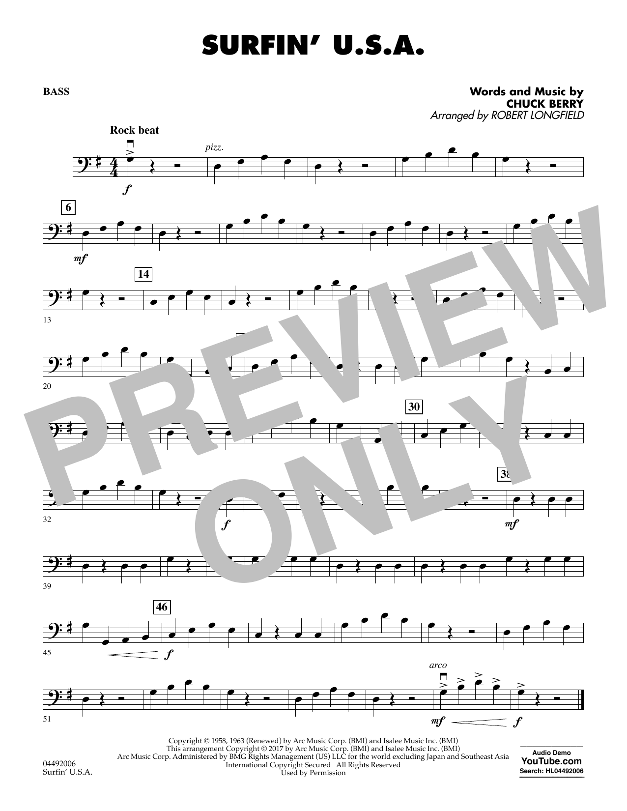 Robert Longfield Surfin' U.S.A. - String Bass sheet music notes and chords. Download Printable PDF.