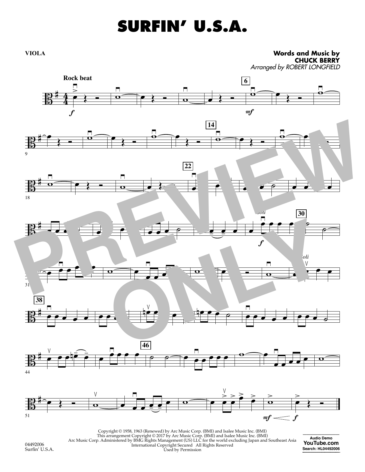 Robert Longfield Surfin' U.S.A. - Viola sheet music notes and chords. Download Printable PDF.