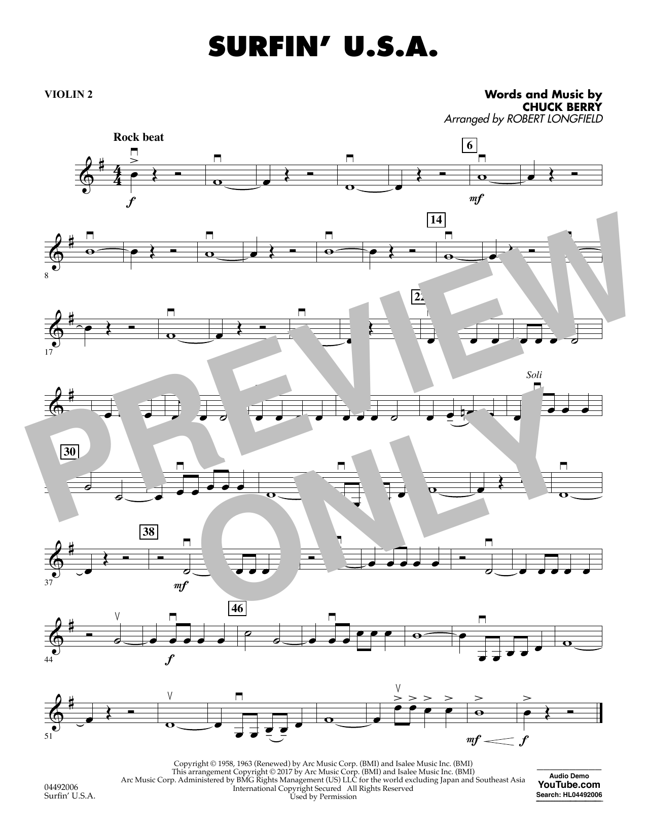 Robert Longfield Surfin' U.S.A. - Violin 2 sheet music notes and chords. Download Printable PDF.