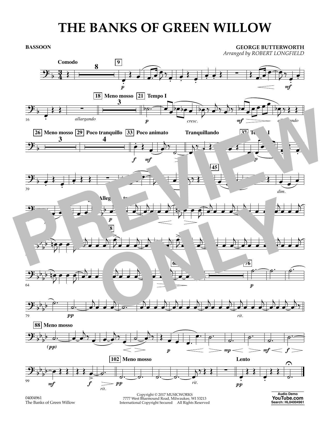 Robert Longfield The Banks of Green Willow - Bassoon sheet music notes and chords. Download Printable PDF.