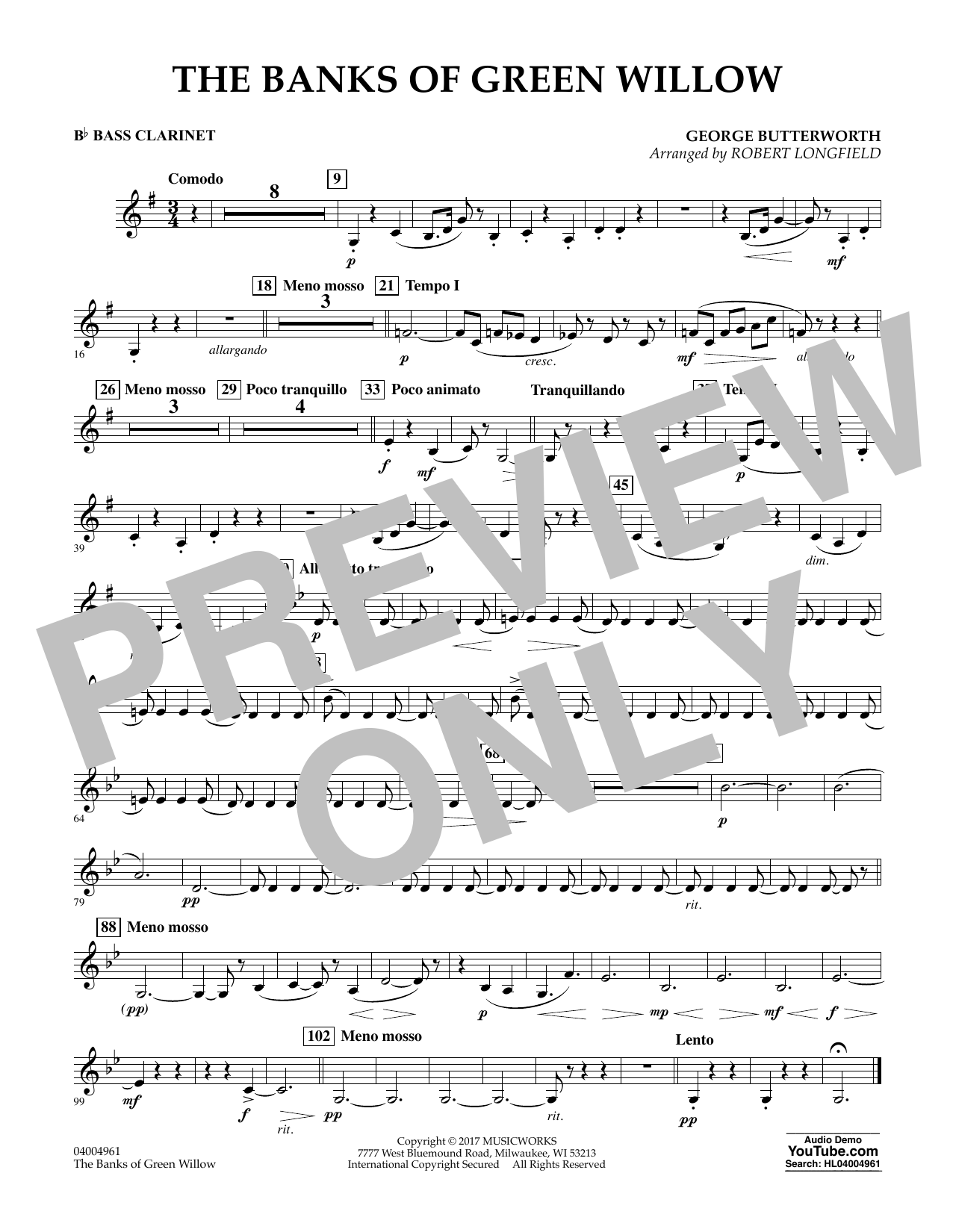 Robert Longfield The Banks of Green Willow - Bb Bass Clarinet sheet music notes and chords. Download Printable PDF.