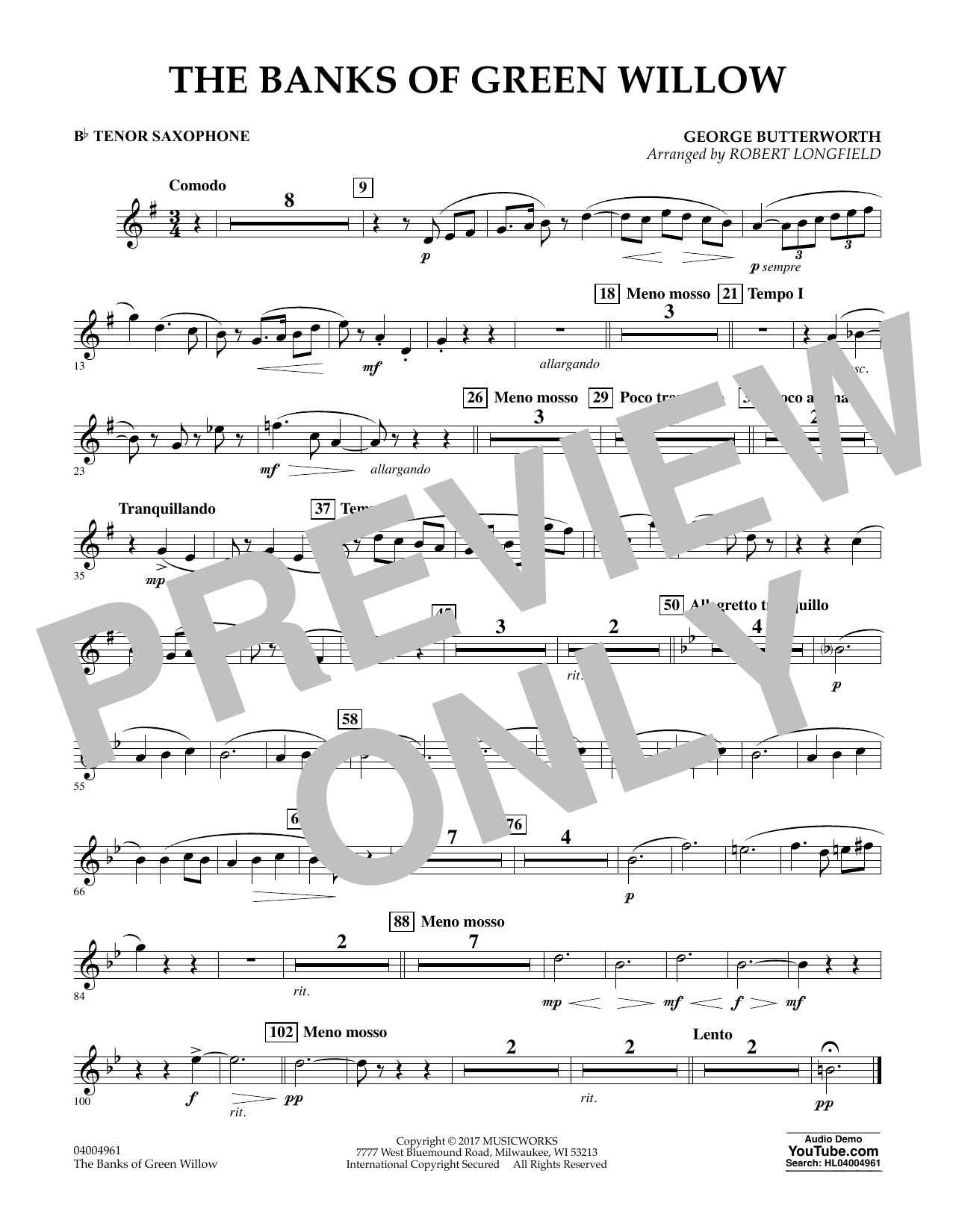 Robert Longfield The Banks of Green Willow - Bb Tenor Saxophone sheet music notes and chords. Download Printable PDF.
