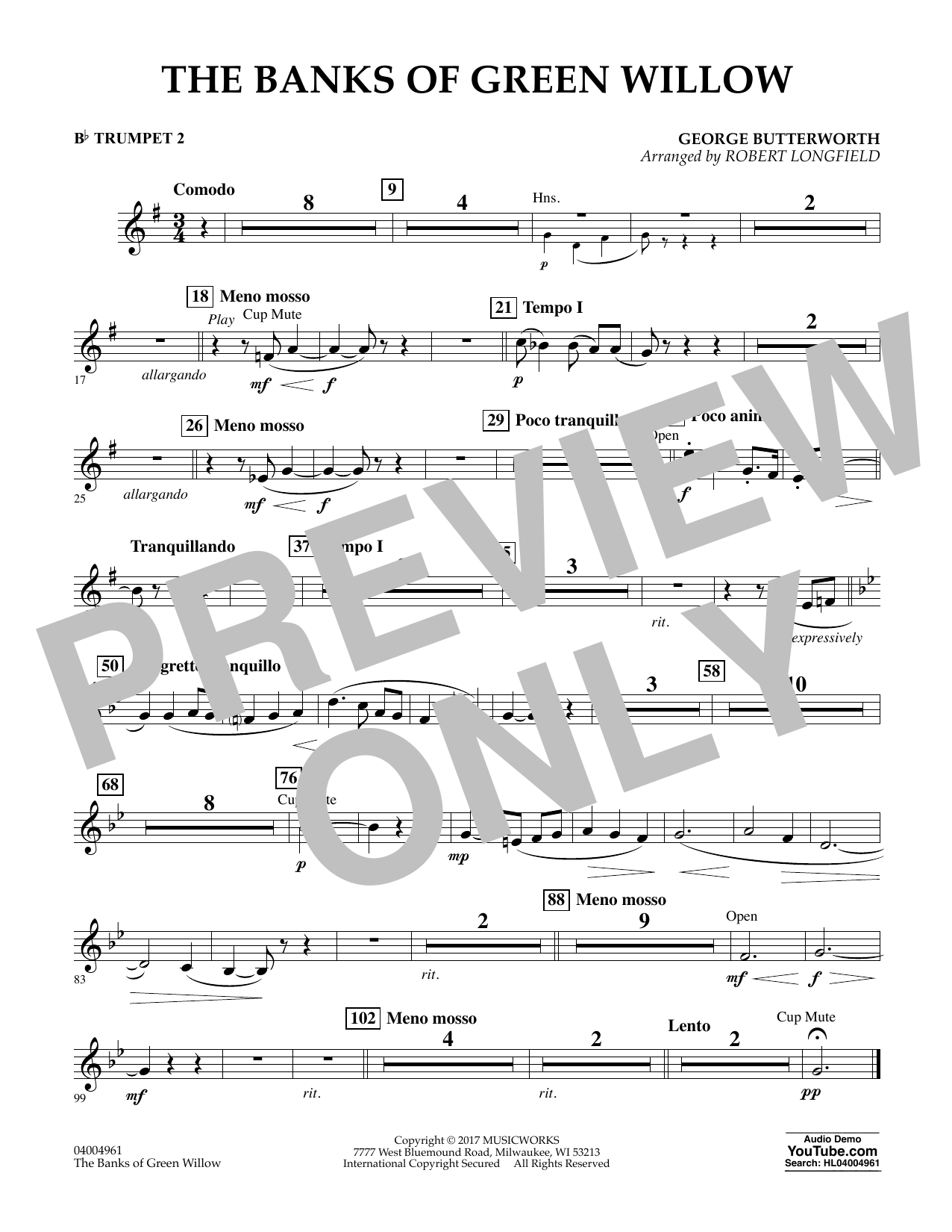 Robert Longfield The Banks of Green Willow - Bb Trumpet 2 sheet music notes and chords. Download Printable PDF.