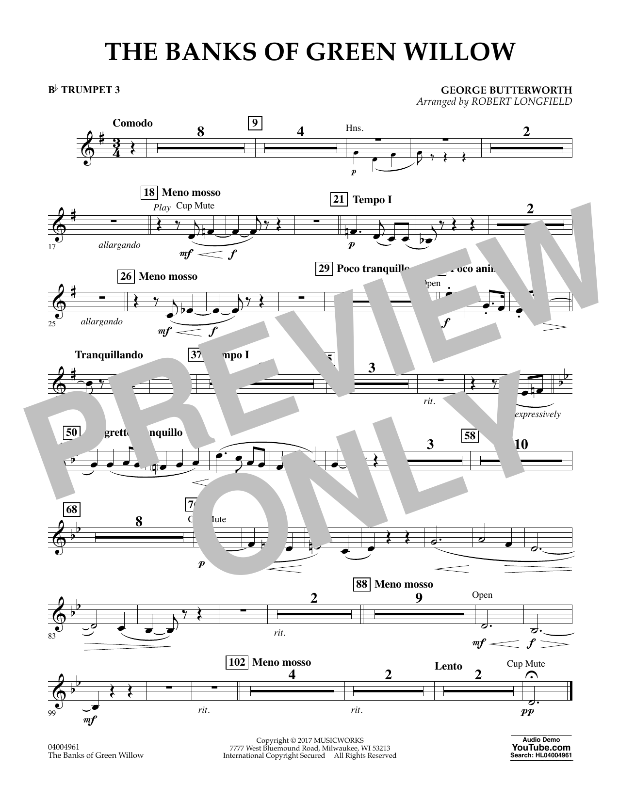 Robert Longfield The Banks of Green Willow - Bb Trumpet 3 sheet music notes and chords. Download Printable PDF.