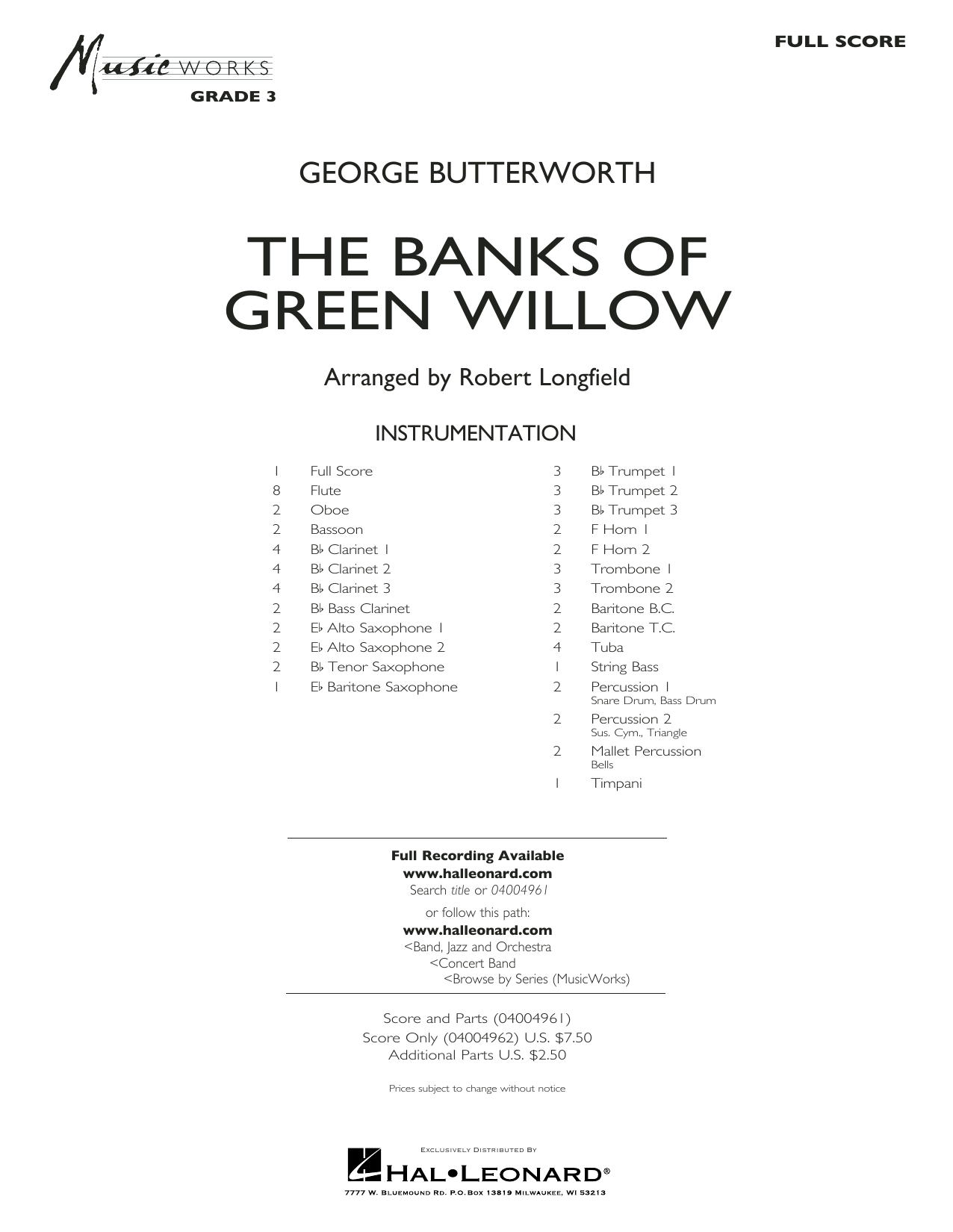 Robert Longfield The Banks of Green Willow - Conductor Score (Full Score) sheet music notes and chords. Download Printable PDF.