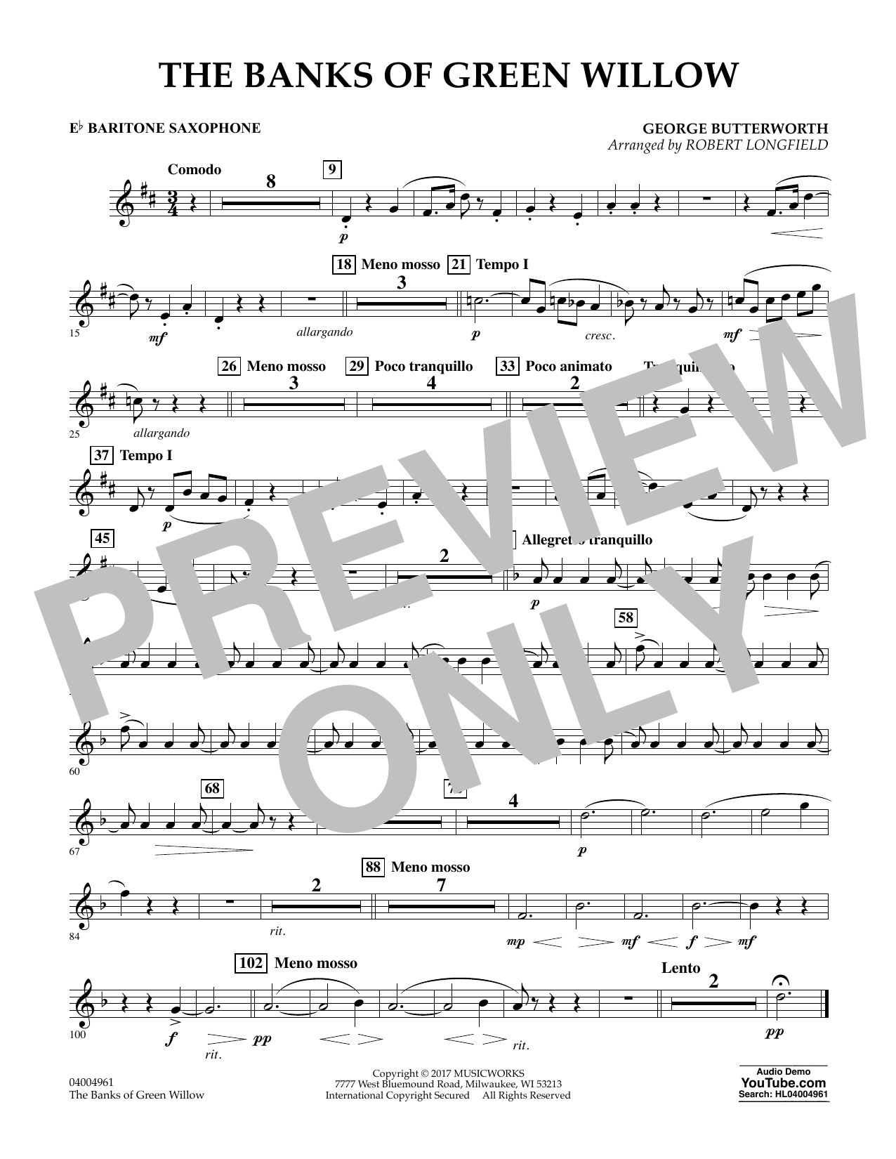 Robert Longfield The Banks of Green Willow - Eb Baritone Saxophone sheet music notes and chords. Download Printable PDF.