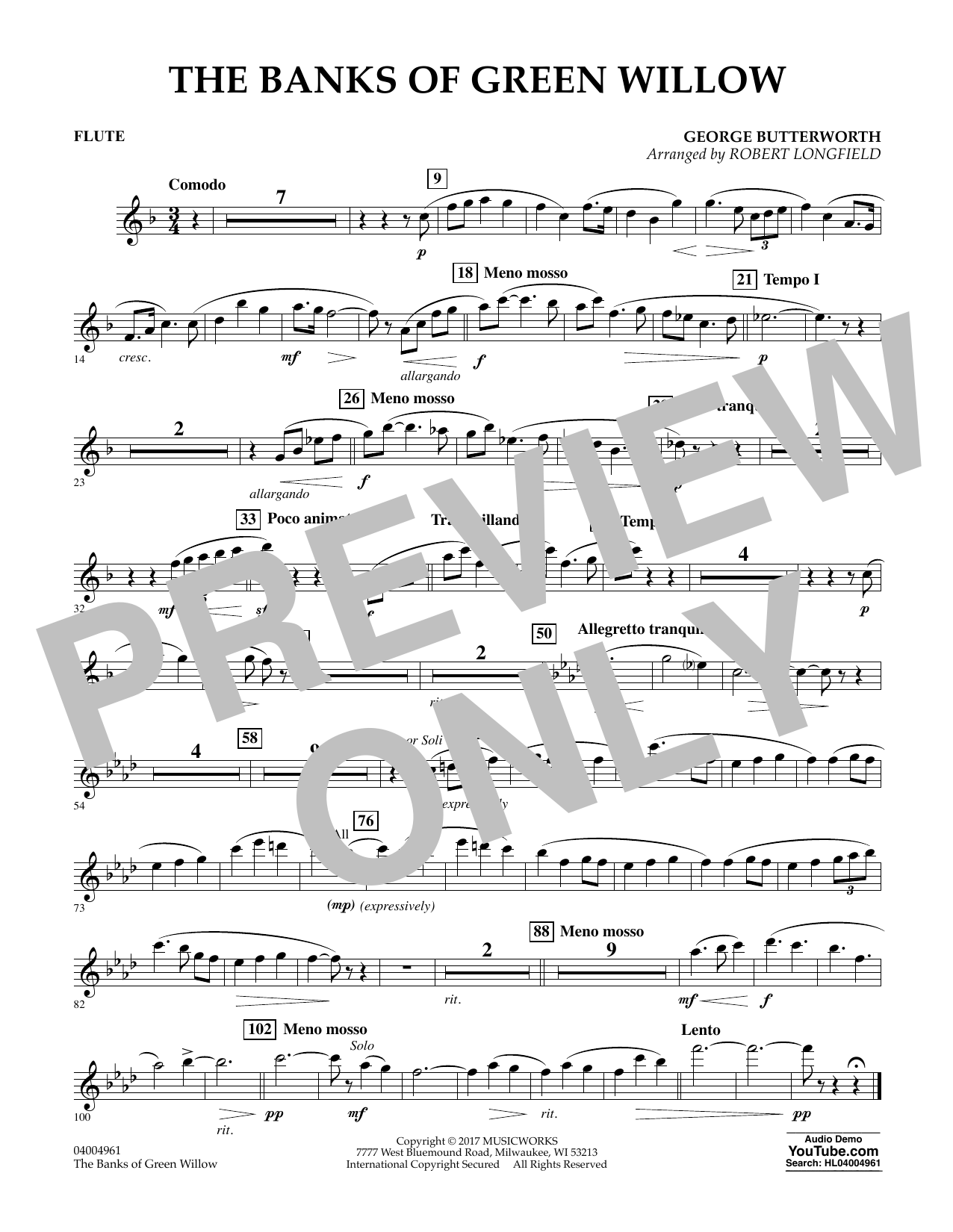 Robert Longfield The Banks of Green Willow - Flute sheet music notes and chords. Download Printable PDF.