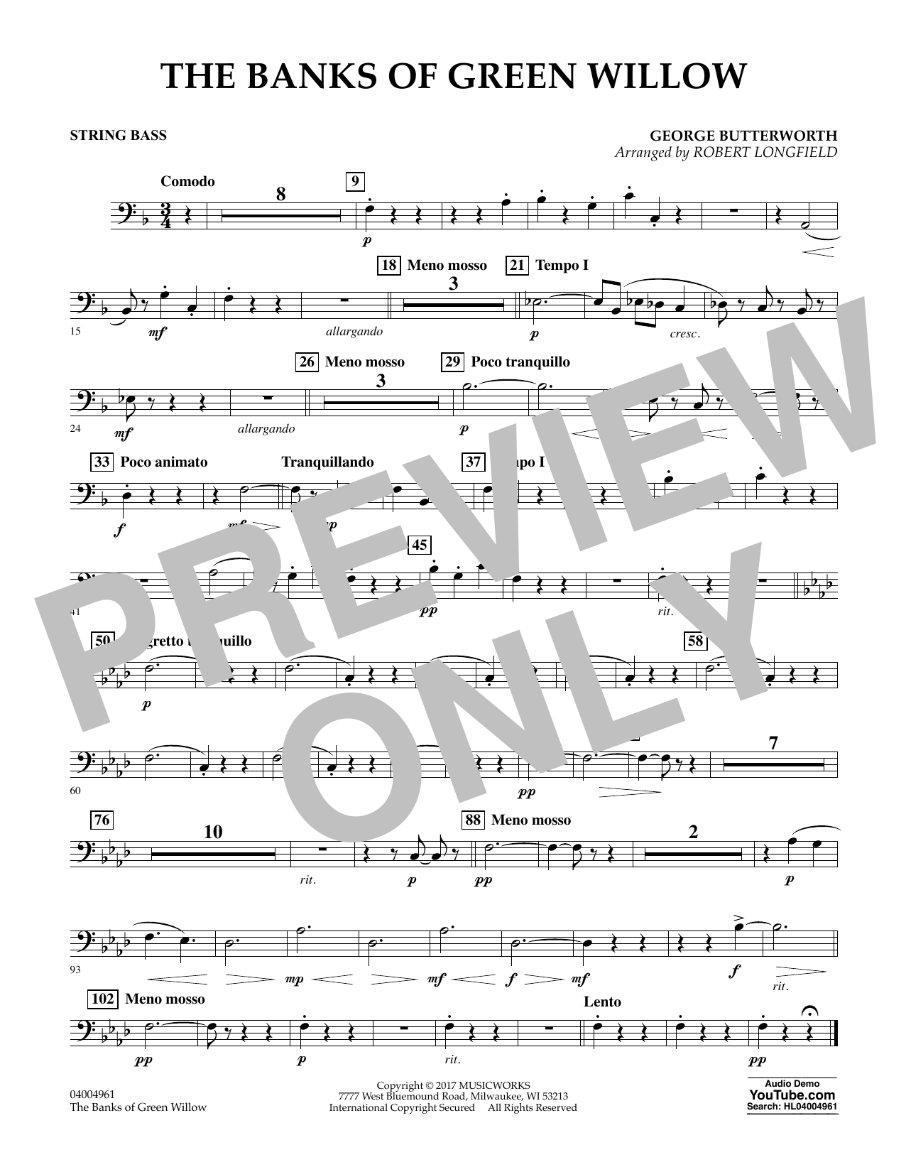 Robert Longfield The Banks of Green Willow - String Bass sheet music notes and chords. Download Printable PDF.