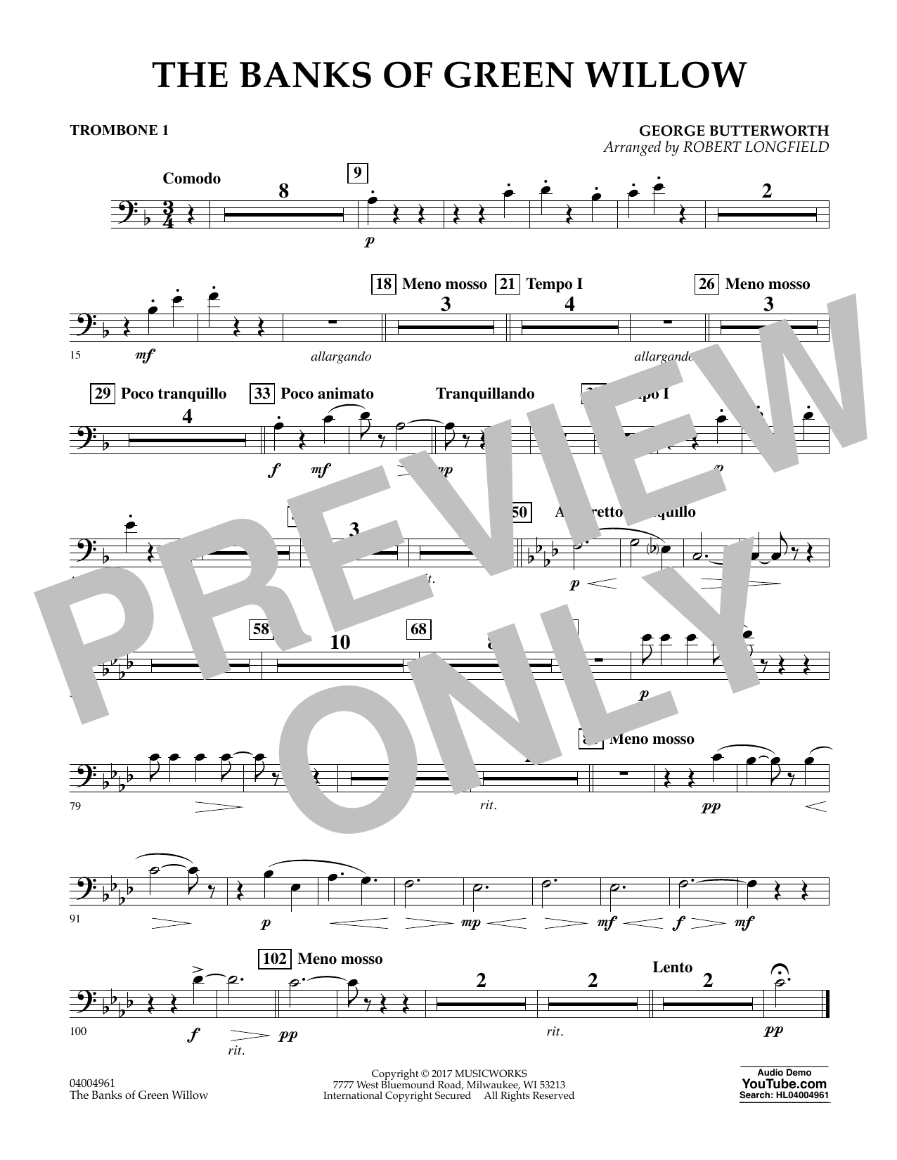 Robert Longfield The Banks of Green Willow - Trombone 1 sheet music notes and chords. Download Printable PDF.