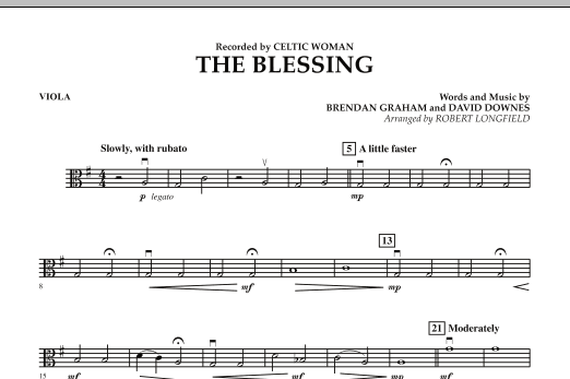 Robert Longfield The Blessing - Viola sheet music notes and chords. Download Printable PDF.