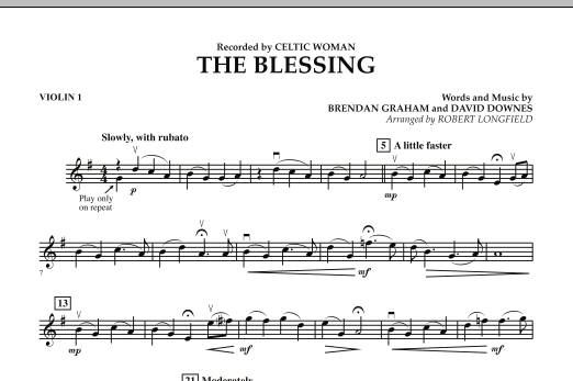 Robert Longfield The Blessing - Violin 1 sheet music notes and chords. Download Printable PDF.