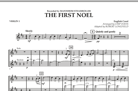 Robert Longfield The First Noel - Violin 1 sheet music notes and chords. Download Printable PDF.