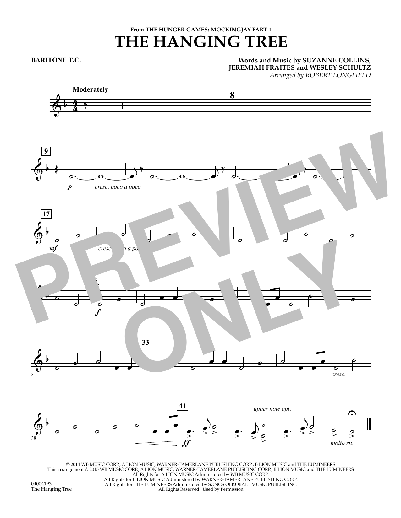 Robert Longfield The Hanging Tree (from The Hunger Games: Mockingjay Part 1) - Baritone T.C. sheet music notes and chords. Download Printable PDF.