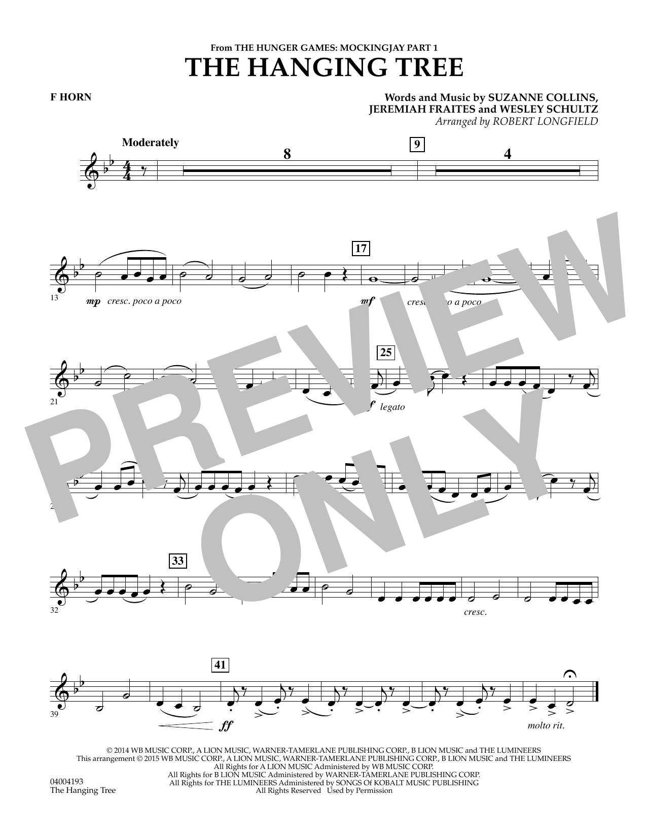 Robert Longfield The Hanging Tree (from The Hunger Games: Mockingjay Part 1) - F Horn sheet music notes and chords. Download Printable PDF.