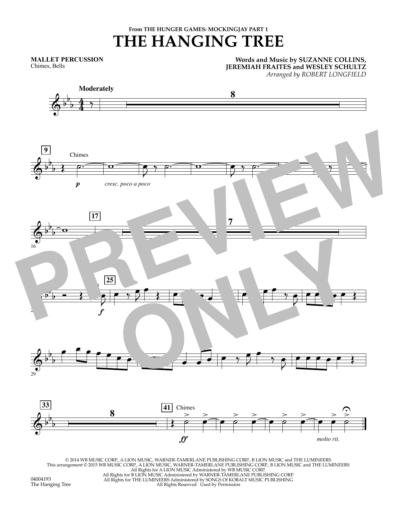 Robert Longfield The Hanging Tree (from The Hunger Games: Mockingjay Part 1) - Mallet Percussion sheet music notes and chords. Download Printable PDF.