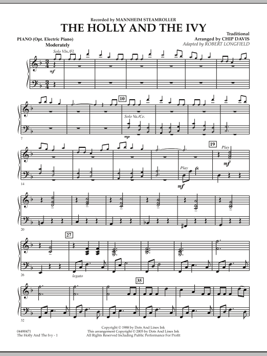 Robert Longfield The Holly And The Ivy - Piano sheet music notes and chords. Download Printable PDF.