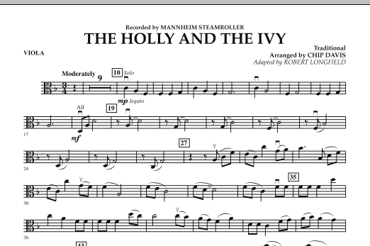 Robert Longfield The Holly And The Ivy - Viola sheet music notes and chords. Download Printable PDF.