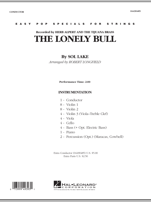 Robert Longfield The Lonely Bull - Conductor Score (Full Score) sheet music notes and chords. Download Printable PDF.