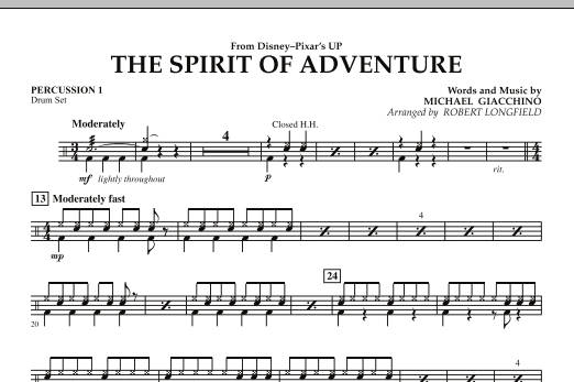 Robert Longfield The Spirit Of Adventure (from Up) - Percussion 1 sheet music notes and chords. Download Printable PDF.