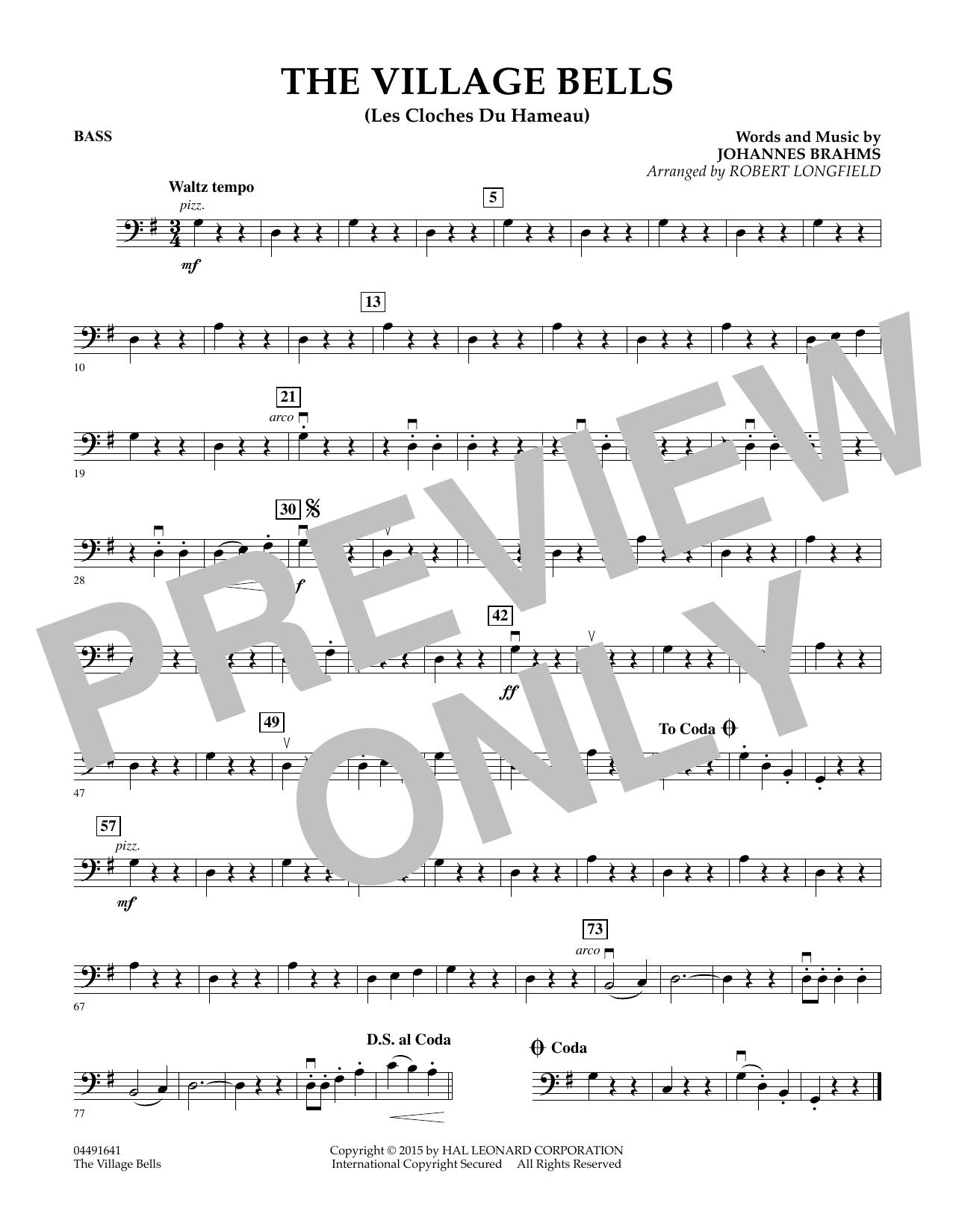 Robert Longfield The Village Bells (Les Cloche du Hameau) - Bass sheet music notes and chords