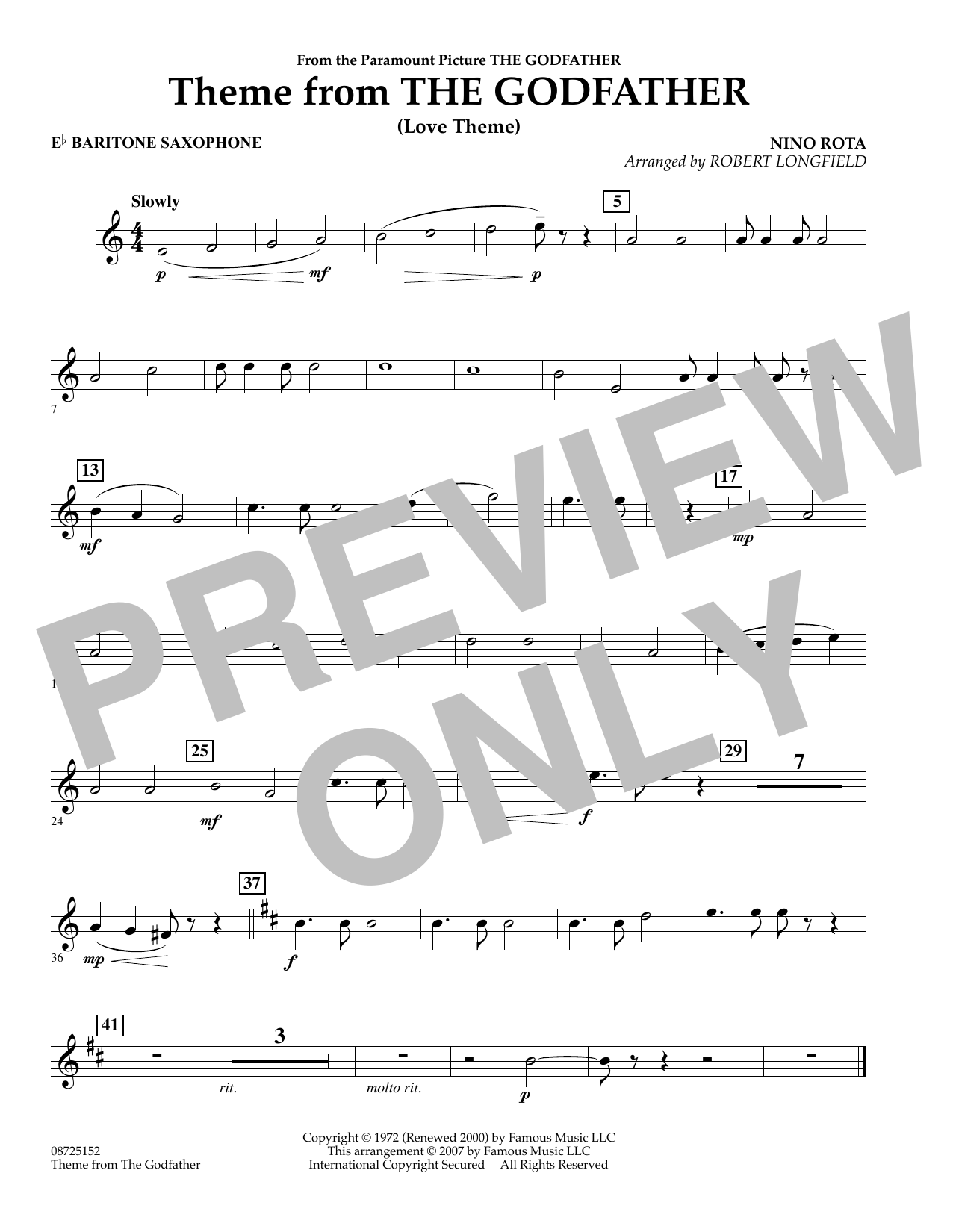 Robert Longfield Theme From The Godfather - Eb Baritone Saxophone sheet music notes and chords. Download Printable PDF.