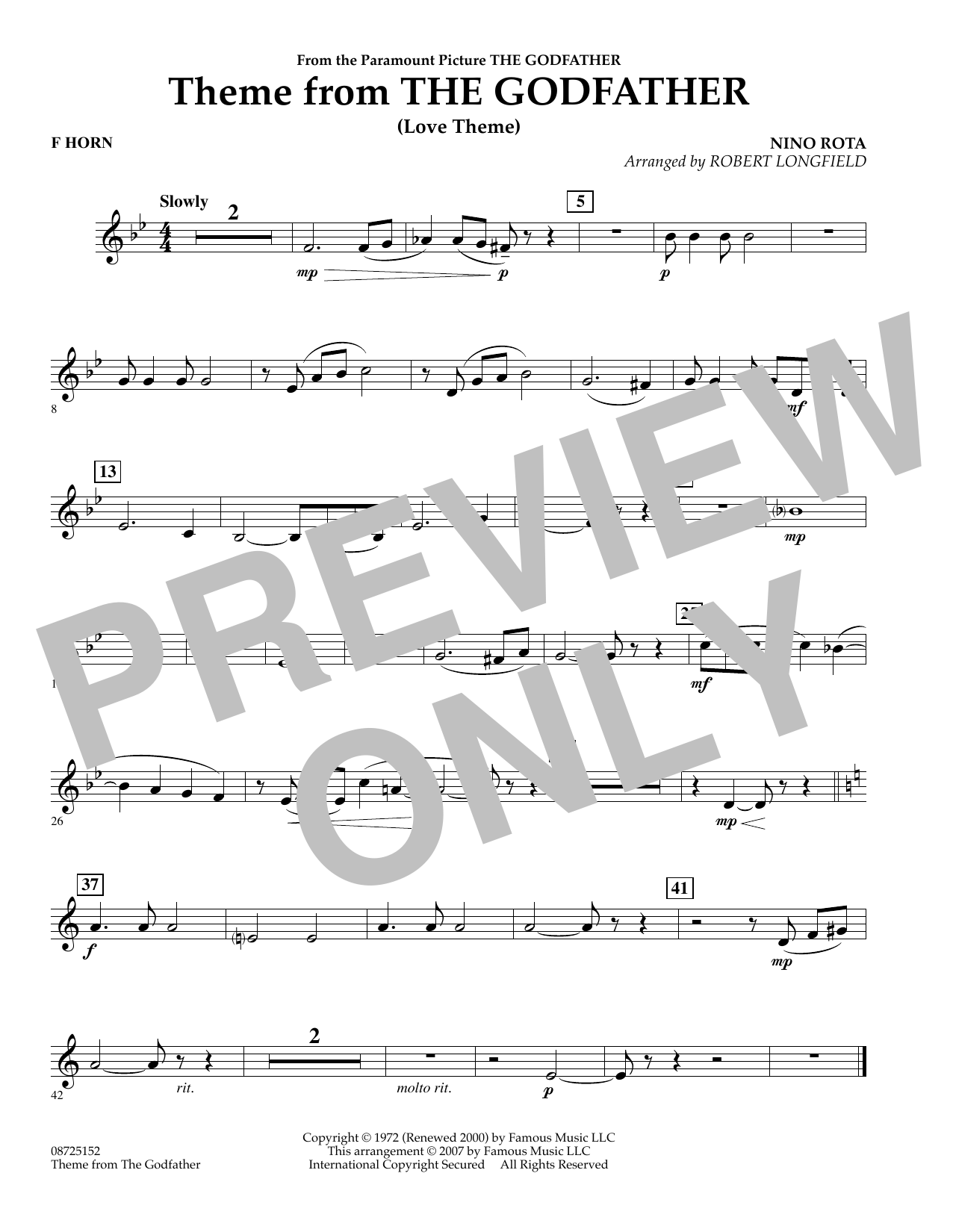 Robert Longfield Theme From The Godfather - F Horn sheet music notes and chords. Download Printable PDF.