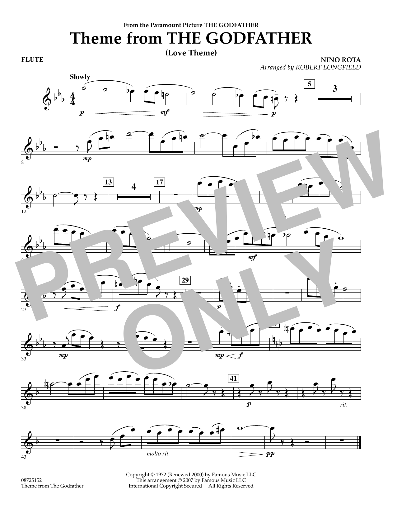 Robert Longfield Theme From The Godfather - Flute sheet music notes and chords. Download Printable PDF.