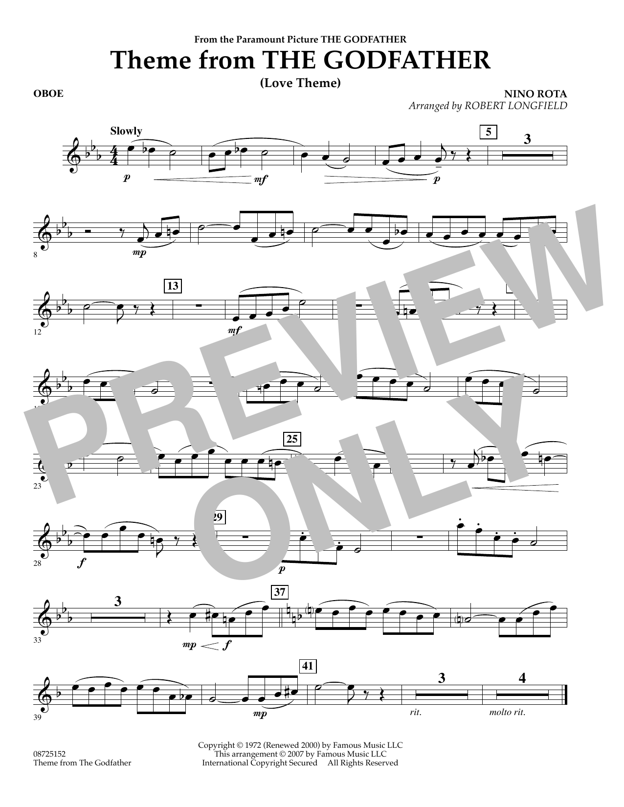 Robert Longfield Theme From The Godfather - Oboe sheet music notes and chords. Download Printable PDF.