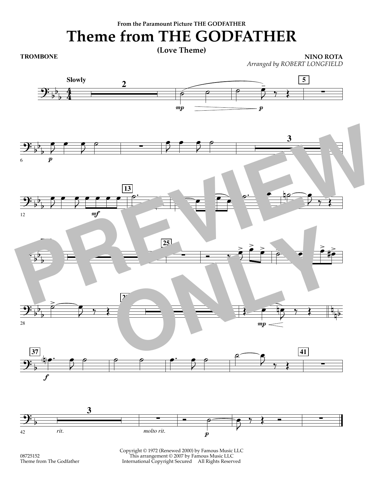 Robert Longfield Theme From The Godfather - Trombone sheet music notes and chords. Download Printable PDF.
