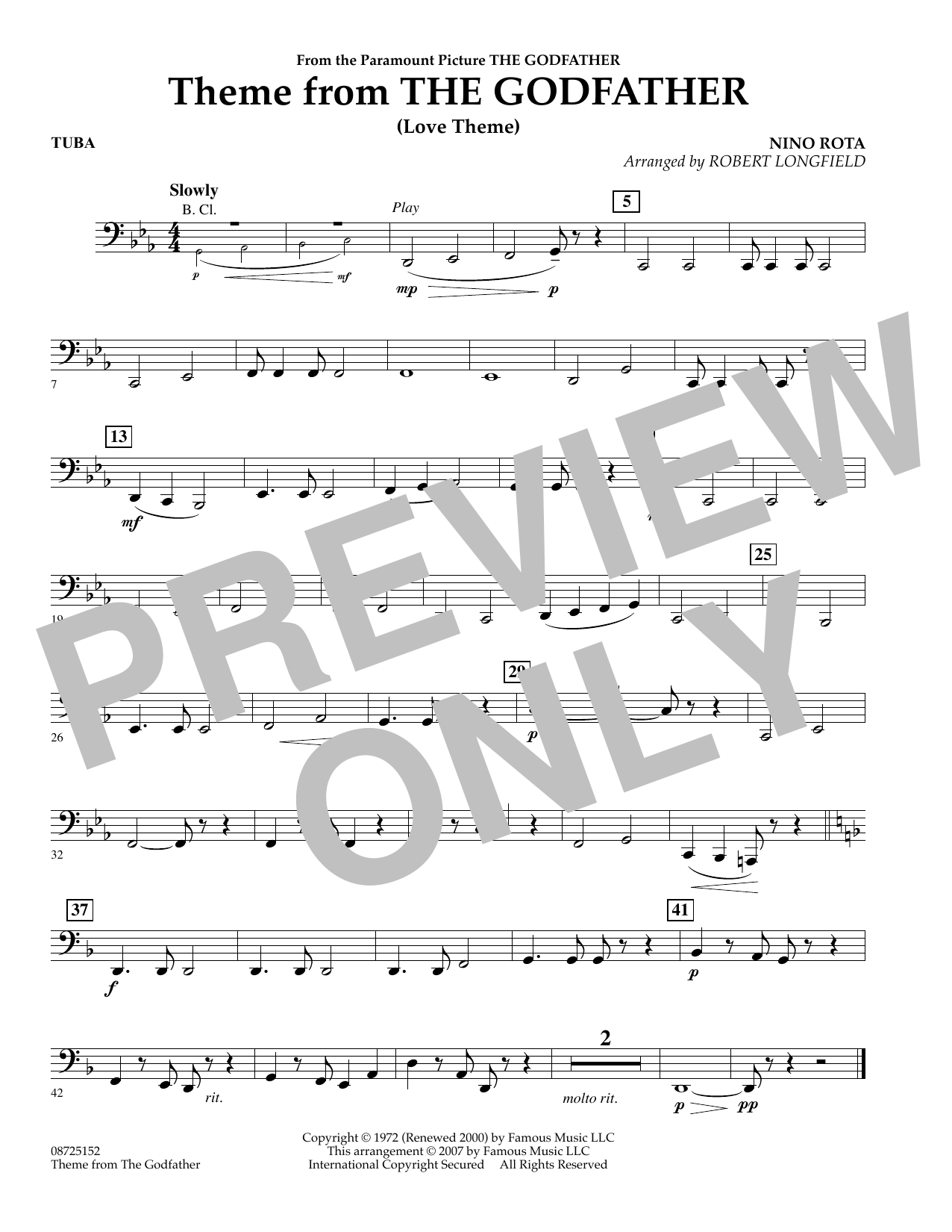 Robert Longfield Theme From The Godfather - Tuba sheet music notes and chords. Download Printable PDF.