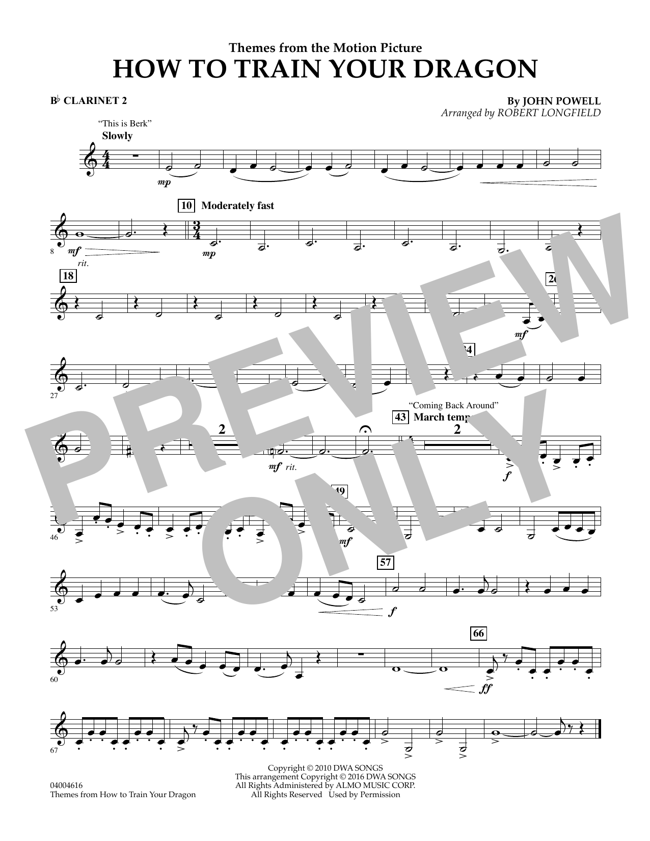 Robert Longfield Themes From How To Train Your Dragon Bb Clarinet 2 Sheet Music Pdf Notes Chords Children Score Concert Band Download Printable Sku 347382