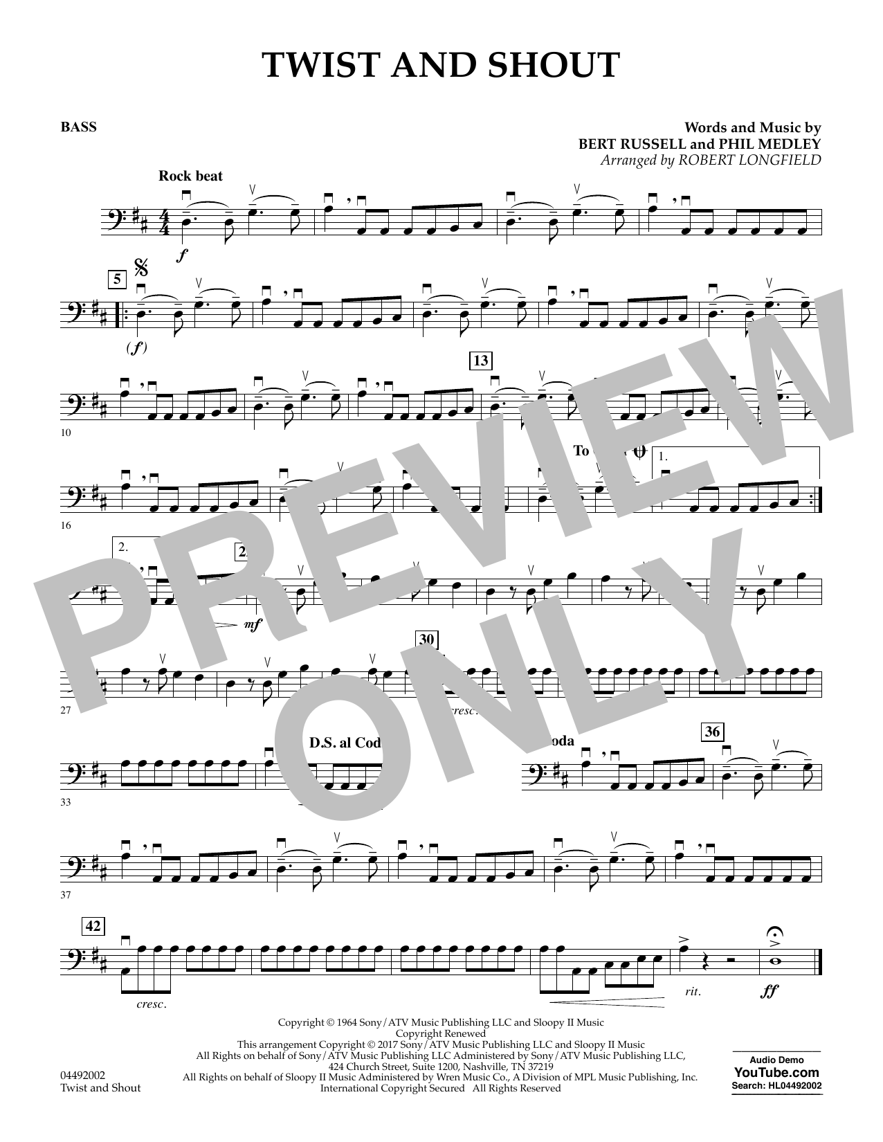 Robert Longfield Twist and Shout - Bass sheet music notes and chords. Download Printable PDF.