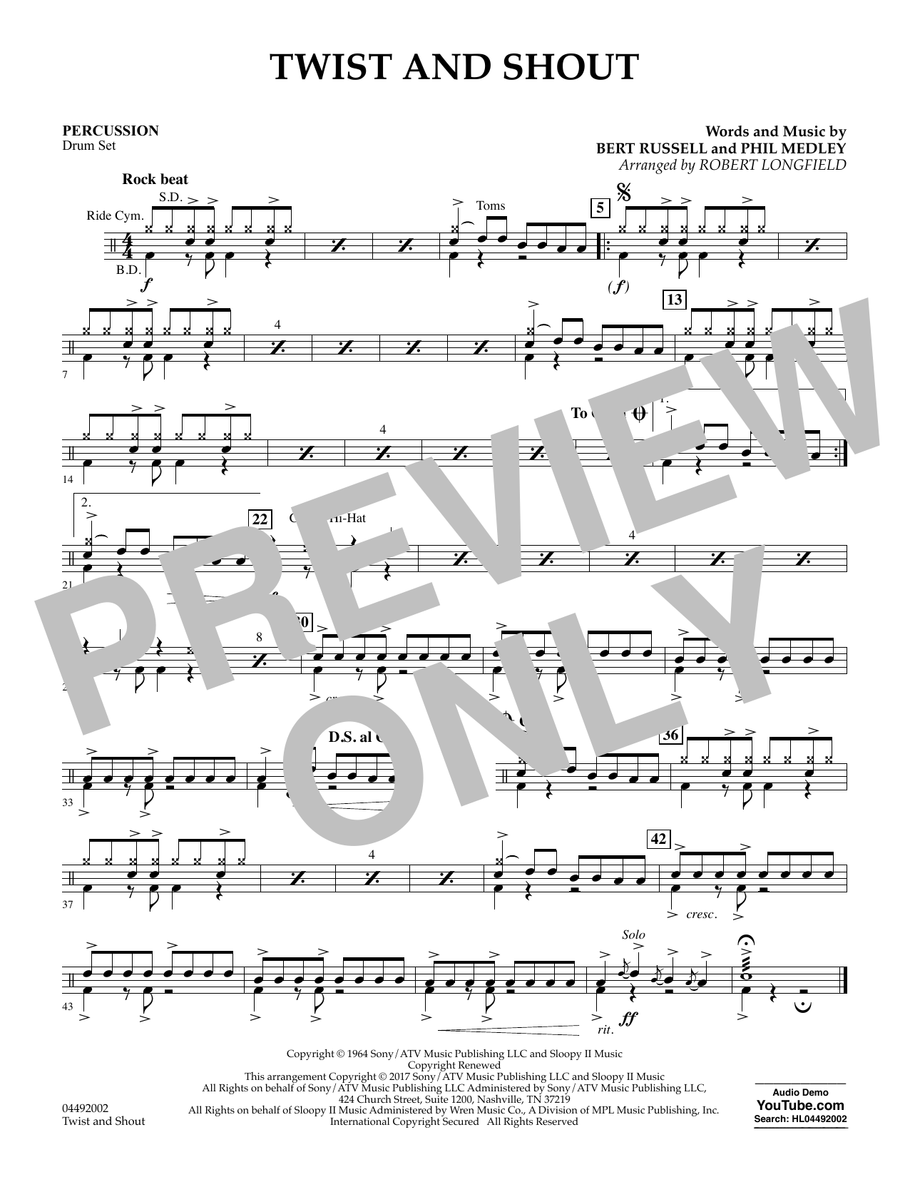 Robert Longfield Twist and Shout - Percussion sheet music notes and chords. Download Printable PDF.