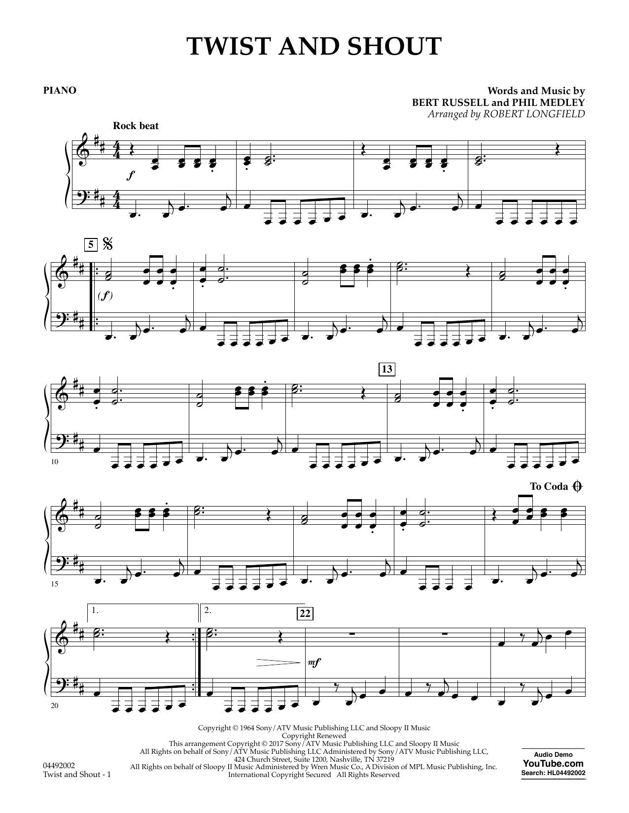 Robert Longfield Twist and Shout - Piano sheet music notes and chords. Download Printable PDF.