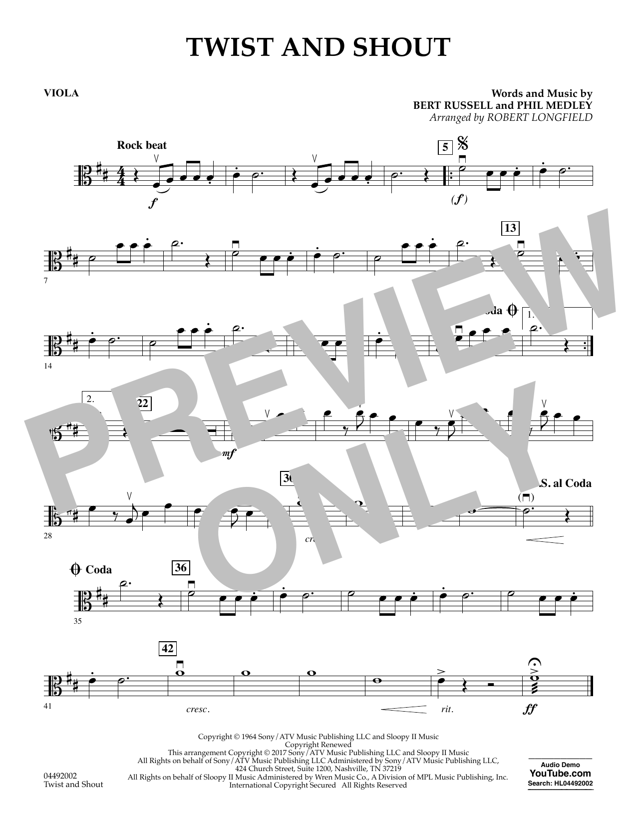 Robert Longfield Twist and Shout - Viola sheet music notes and chords. Download Printable PDF.
