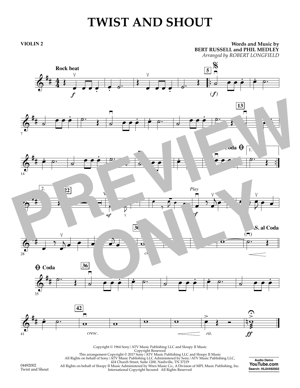 Robert Longfield Twist and Shout - Violin 2 sheet music notes and chords. Download Printable PDF.