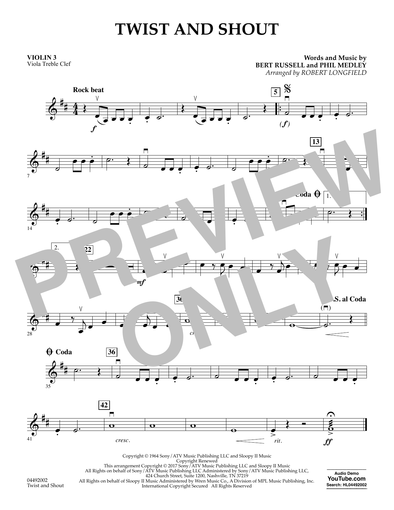 Robert Longfield Twist and Shout - Violin 3 (Viola Treble Clef) sheet music notes and chords. Download Printable PDF.