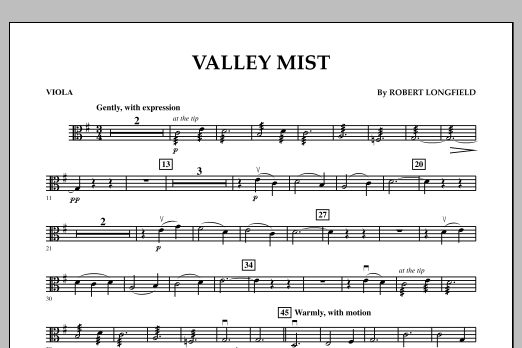 Robert Longfield Valley Mist - Viola sheet music notes and chords