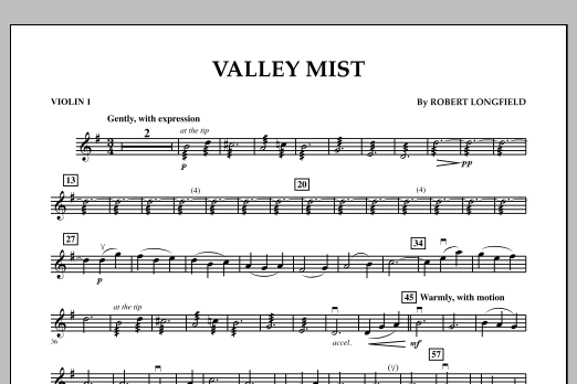 Robert Longfield Valley Mist - Violin 1 sheet music notes and chords