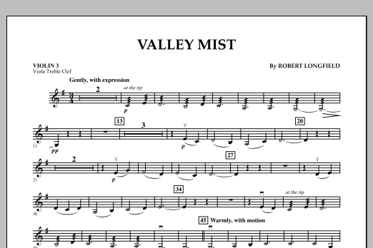 Robert Longfield Valley Mist - Violin 3 (Viola Treble Clef) sheet music notes and chords. Download Printable PDF.