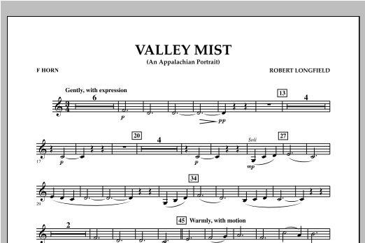 Robert Longfield Valley Mist (An Appalachian Portrait) - F Horn sheet music notes and chords. Download Printable PDF.