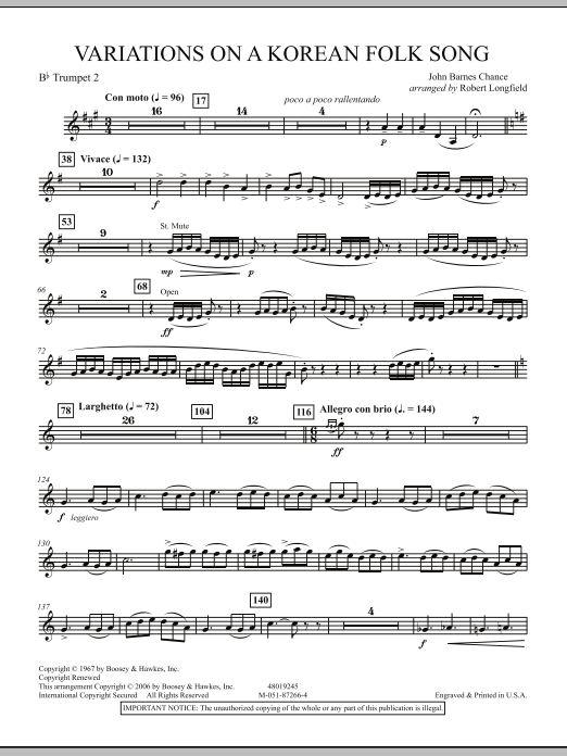 Robert Longfield Variations on A Korean Folk Song - 2nd Bb Trumpet sheet music notes and chords. Download Printable PDF.