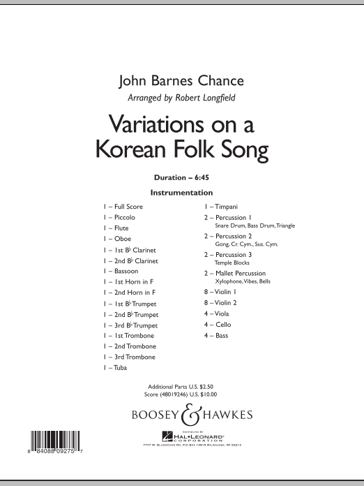 Robert Longfield Variations on A Korean Folk Song - Conductor Score (Full Score) sheet music notes and chords. Download Printable PDF.