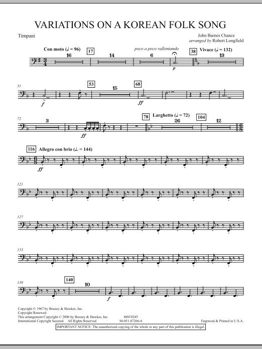 Robert Longfield Variations on A Korean Folk Song - Timpani sheet music notes and chords. Download Printable PDF.