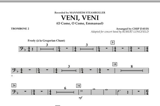 Robert Longfield Veni, Veni (O Come, O Come Emmanuel) - Trombone 2 sheet music notes and chords